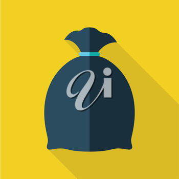 Trash Bag vector illustration in flat style. Packed garbage picture for ecological conceptual banners, web, app, icons, infographics, logotype design. Isolated on yellow background.