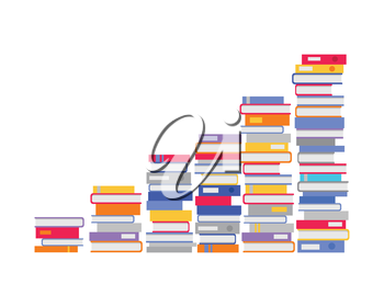 Stack of books in the form of stairs. Professional growth. Necessary to get knowledge constantly. Lifelong constant learning. Business education. Getting knowledge without rest. Vector illustration