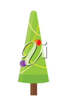 Christmas tree isolated on white. Cartoon fir tree in xmas holiday concept. Merry Christmas and Happy New Year poster. Funny winter illustration for children. Winter season holiday celebration. Vector