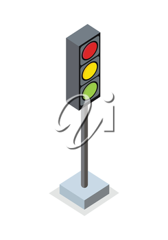 Isometric traffic light icon. Traffic light on base. Standing is prohibited. City isometric object in flat. Drive safety. Isolated vector illustration on white background.