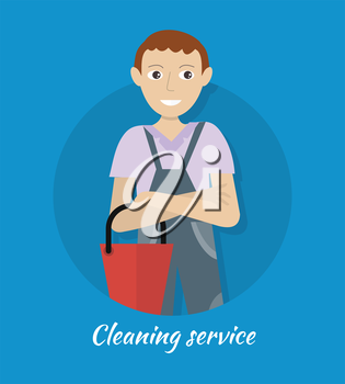 Cleaning service banner. Smiling young man in blue uniform with red bucket. House cleaning service, professional office cleaning, home cleaning, domestic cleaning service. Website template.