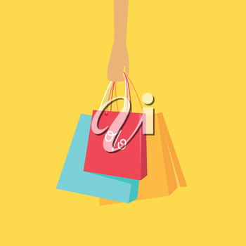 Big sale hot price in woman clothing store. Color shopping paper bags hanging on a female hand flat vector illustration. Black friday. For seasonal sales and discounts promotions design