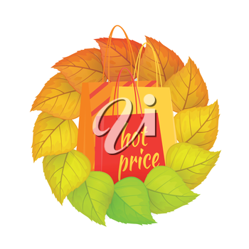 Paper bags with text hot price, in a wreath from leaves. Autumn fall concept design. Sale tags banner retail label isolated. Shopping icon purchase, marketing e-commerce. Vector illustration