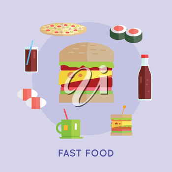 Fast food vector concept in flat style. Street food concept. Hamburger, pizza, tea, sushi, cheeseburger, beverage illustrations for cafe, snack bar, food delivery ad, prints, logo menu design
