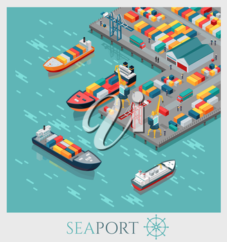 Isometric commercial sea port. Cargo sea port, container terminal, sea freight transportation, global transportation, cargo ships in harbor, unloading of cargo containers from container carrier.