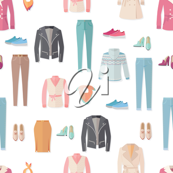 Clothing vector seamless pattern. Flat style illustration. Jacket, sweater, coat, shoes, sneakers, pants, scarf illustrations on white background. For goods wrapping paper, stores ad prints design