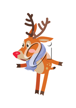 Deer in blue scarf isolated on white. Confused reindeer doesn t know what to do. Christmas deer cartoon illustration in flat style design. Cartoon character mammal icon. Vector illustration