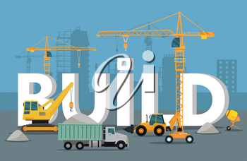 Build banner concept in flat style. Modern building process. Pouring concrete. Construction of residential houses banners set. Big building area. Icons of construction machinery. Vector illustration