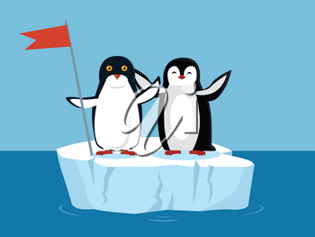 Funny emperor penguins on arctic glacier with red flag. Black penguin with white belly. Animal adorable penguin vector character. Charming penguin. Wildlife characters greeting you. Vector