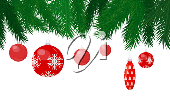 Baubles and cone toy hanging on Christmas tree vector. Balls with snowflake shining print, hang decoration on pine branches, spruce frame, winter holiday