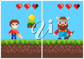 Viking and boy pixel game vector, characters with weapon. Pixelated male smiling holding sword, norwegian personage with wooden bat, life scale and coin of gold, 8 bit game