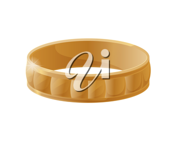 Engraving wedding ring realistic vector illustration isolated on white. Gold stylish jewellery accessory item, romantic engagement symbol, present for her