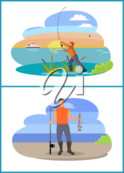 Fishing fisherman with rod and fish icon. Standing fishers with fish-rods, just caught trout, in bulrush, isolated on landscape vector illustration