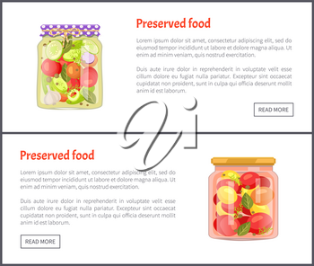 Preserved food in glass jars set vector illustration. Vegetable salad, tomato and cucumber, zucchini and garlic, with bay leaf, pepper and dill spices