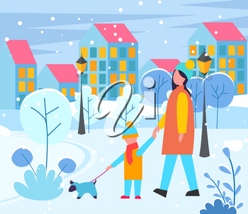 Mother and child walking with pet on leash. Evening cityscape with buildings exteriors. Facade of homes at street with lantern lights. Mom and son with dog. Owners of puppy in clothes. Vector in flat