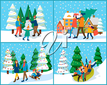 Four pictures of families that spend time actively together outdoor. Mother, father and their children making snowman or preparing for christmas, tubing or sledding. Vector illustration in flat style