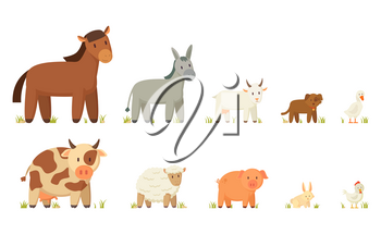 Horse and cow, donkey and sheep, goat and pig, dog and rabbit, goose and hen. Large and small farm and domestic animal vector cartoon illustration.