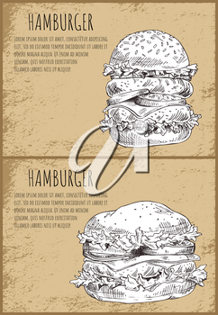 Hamburgers graphic art isolated on brown backdrop vector illustration of fast food, huge burgers with fatty meat cutlets salad leaves and vegetables
