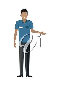 Shop worker character vector template. Flat design. Smiling man in uniform, assistant, seller, cashier or guard standing on white background. Grocery shop, supermarket, mall personnel illustration.