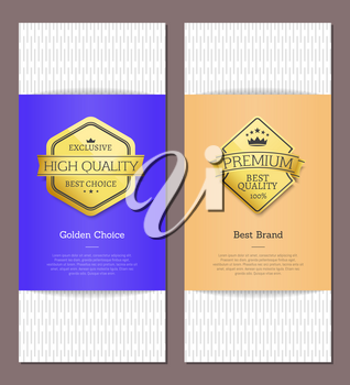 Exclusive high quality, best choice posters with golden label and headline, crown and stars with text sample vector illustration posters set