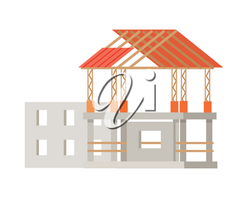 Building construction process. Building of cottage house. Mock-up of home building. House under development in flat style design. Project of house building. Construction of roof. Vector illustration