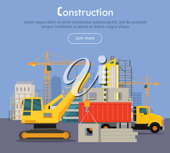 Construcrtion. Build banner concept in flat style. Modern building process. Pouring concrete. Building of residential house banner. Big building area. Icons of construction machinery. Vector