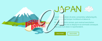 Japan conceptual web banner. Japanese wooden bridge across pond with Fiji Mount in background flat vector illustration. Horizontal concept with country national symbols for travel company landing page