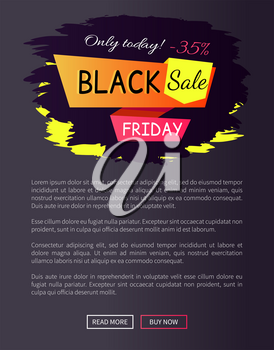 Only today - 35 off Black sale Friday promotional label abstract geometric ribbons, color inscription vector illustration isolated on dark web poster