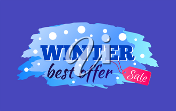 Winter sale best offer advert with icy colorful sign isolated on blue background. Vector illustration with seasonal discount promotion