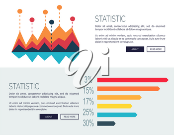 Statistic representation design for web page with colorful bar graphs. Vector illustration designed for web site and contains buttons
