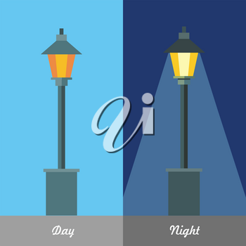 Street light vector illustration at day and night time set. City lamp picture for infrastructure concepts, web, applications icons, infographics, logotype design. Vector flat style illustration