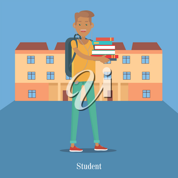 Student stand with book on the background of college building. Student hold mountain of books. College building with brown roof. Student communication. Education concept. College education. Vector