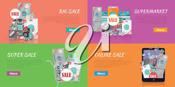 Sale in electronics store concepts. Big collection of house technics and kitchen appliance in shopping trolley, tablet screen, near supermarket on color backgrounds. Black friday. For store promotion