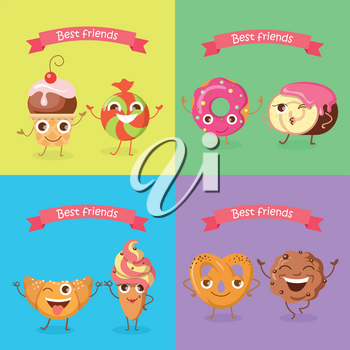 Best friends caramel candy and cupcake, soft pretzel and chocolate biscuit, croissant and ice cream, doughnut and cake. Smiling characters. Set of funny sweets flat design. Confectionery bake cartoons