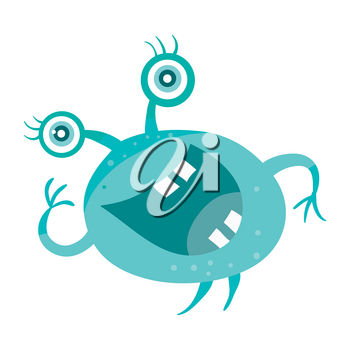 Cartoon blue microorganism. Funny smiling germ. Character with big eyes on head. Monster bacteria with tooth, hands, open mouth. Vector funny illustration in flat design. Friendly virus. Microbe face