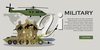 Different types of armed forces. Soldiers in ammunition with guns, APC, cannon, rocket, helicopter flat vector illustrations world map on background. For warfare concepts, military service contract ad