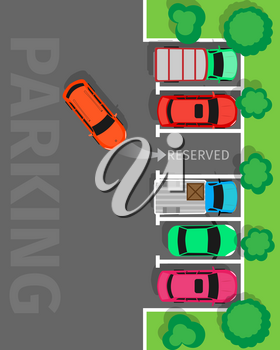 City parking vector web banner. Flat style. Shortage parking spaces. Large number of cars in a crowded parking. Urban infrastructure and car boom. For rental, architectural company web page design