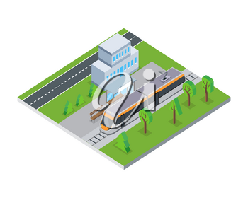 Flat 3d isometric gray public tram on isometric part of city. Tram on rails. City service transport. Tram icon. Isometric part of the city infrastructure. Isometric public tram. Vector illustration