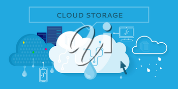 Cloud storage web banner in flat style. Information sharing and saving. Servers, users, drops, computer networks,media icons. Illustration for video presentation or corporate ad animation clip