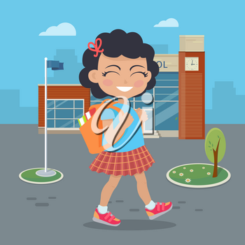 Girl going in for school with rucksack. Little girl goes to study office. School girl during break searching for classroom. Young lady at playground at break. Daily activity. Vector