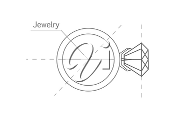 Ring with diamond, graphic scheme. Diamond shape. Blueprint outline jewelry. Craft jewelry making. A handmade jeweler process, manufacture of jewelery. Isolated vector illustration.