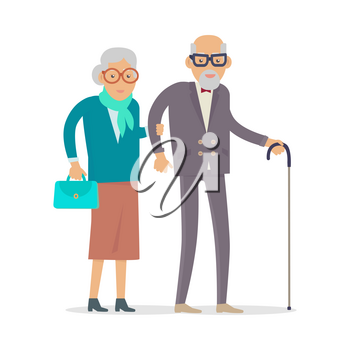 Aged people walking isolated on white. Happy senior man and woman together. Middle aged couple. Older man and woman having fun together. Senility old aged senium in flat design. Vector illustration