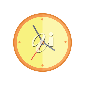 Classic round wall clock with yellow color bodies. Wall clock icon. Mechanical clock. Office workplace design element. Isolated object on white background. Vector illustration.
