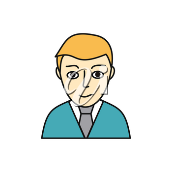 Young man avatar icon. Young blond man in blue sweater and tie. Social networks business private users avatar pictogram. Isolated vector illustration on white background.