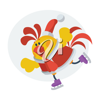 Rooster on skates. Cock in Santa clothing  skating on ice isolated flat vector. Chinese zodiac calendar animal character. Cute rooster cartoon for New Year greeting card, xmas holiday invitation