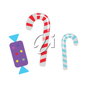 Christmas candies isolated. Two sweet bent striped lollipops, blue and red. Bonbon in colourful violet wrapper with bright stars. Cartoon design comic illustration in 80s 90s style. Flat style. Vector
