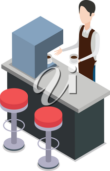 Bartender holding one cup of coffee near bar counter. Two glasses. Brown pinner. Process of making coffee. Two high red seats in front table. Coffee machine on bar counter. Flat design. Vector