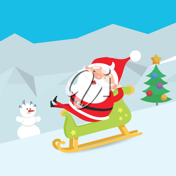 Cartoon Santa Claus riding a wooden green sleigh. Snowman. Christmas tree decorated with different bows and toys. Santa comfortably sitting in sledge. Flat design. Hills covered with snow. Vector