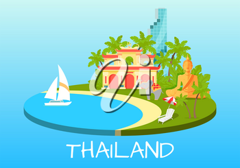 Thailand touristic banner with national symbols. Thai cultural, architectural and nature famous attractions flat vector illustration. Vacation in asian exotic country concept for travel company ad