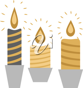 Three burning candles isolated in deep silver racks on white in flat design. Vector illustration of black and yellow Christmas wax decorations with flame and colourful stripes in cartoon style.
